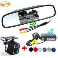 4.3 Car Rearview Mirror Monitor + Rear Backup Camera + 2.4Ghz Wireless Kit + Parking Assistance Radar Sendor System
