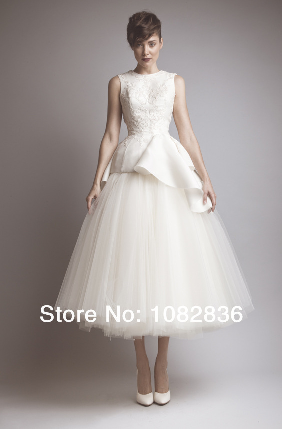 Mid Calf Length Embroidery Beads Ivory Celebrity Dresses