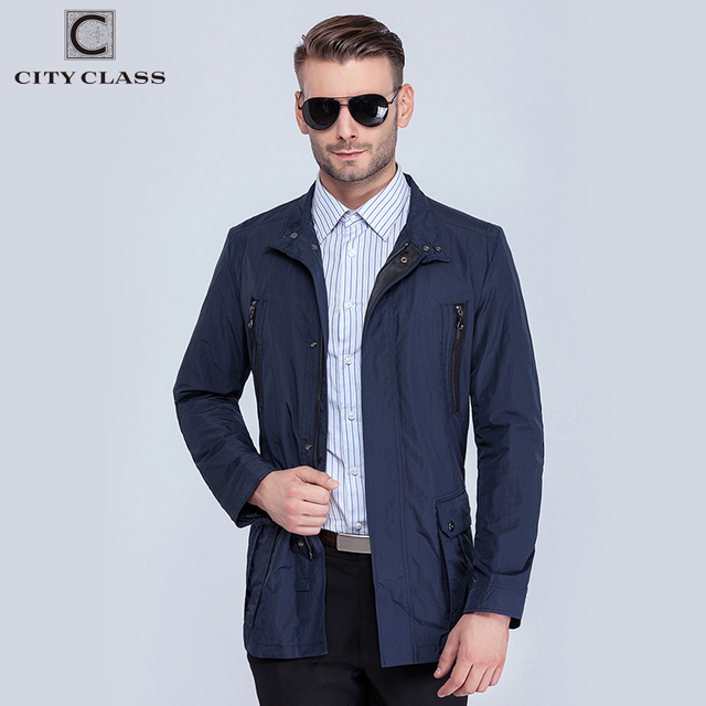 City Class mens windbreaker summer spring brand quality jackets and coats for male unique multi-pocket plus size blue 15115