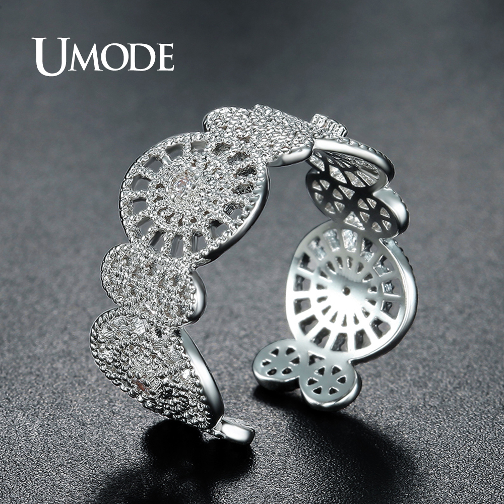 UMODE Brand New Design Resizable Weißgold Farbe Cocktail Ring - Modeschmuck - Foto 6