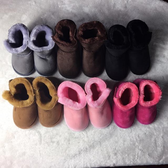 Duro suelas de Botas de Invierno Cálido Zapatos de Niña Recién Nacido Bebé Mocasines De Piel Suave Con Suela de los Zapatos Recién Nacido Niños Niños Botines