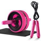 ★  Ролик колеса с ковриком No Noise 2 в 1 Тренажер для мышц и скакалка Тренировка мышц брюшного пресса  ✔