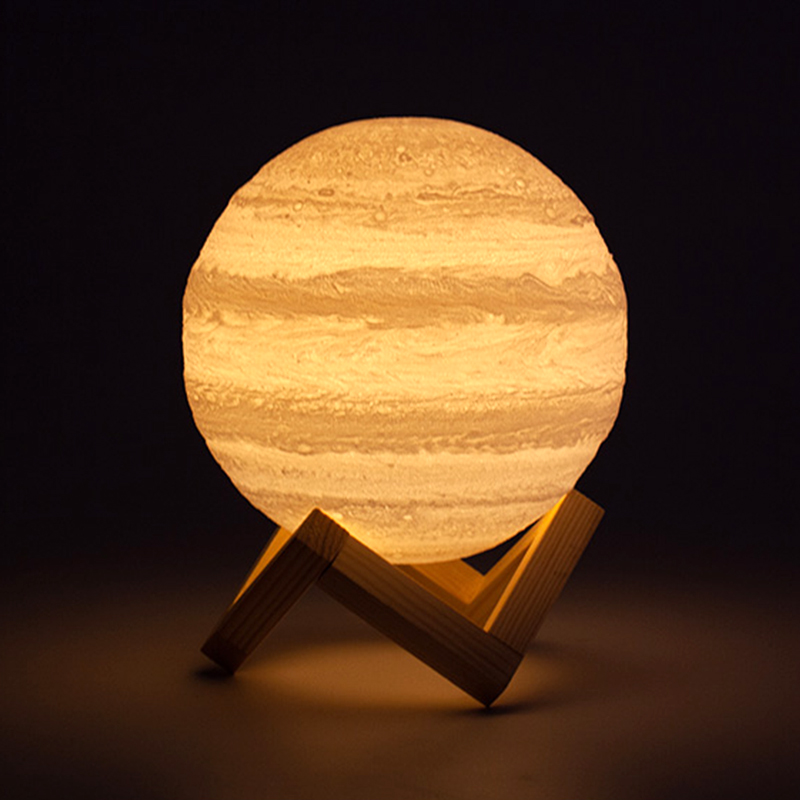 Warm White 3D Print Jupiter Lamp USB 2 colors Touch Switch Night lamp 16 changing Amstophere moon Friends gift