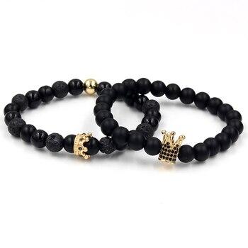Bracelets assortis couple Roi et Reine couronne Black doré