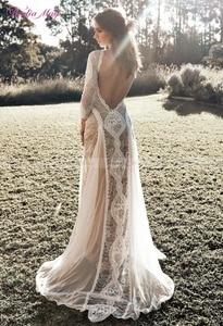 Image 3 - Vintage Spitze Backless Boho Strand Hochzeit Kleider Langarm Nude Futter Land Bohemian Wedding Kleider Hippie Gypsy Braut Kleid