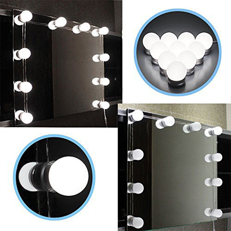 10 PCS Waterproof Hollywood Vanity Lighted Makeup Mirror Light Kit LED Bathroom Vanity Light Bulb Fixture Strip Set for Makeup