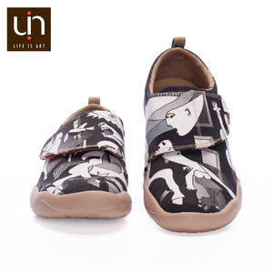 Image 2 - Uin ace & pedro design 어린이를위한 손으로 그린 캐주얼 플랫 슈즈 hook & loop comfort flats 소년/소녀 야외 운동화