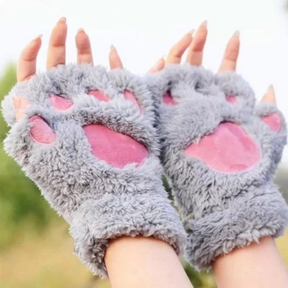 1 Pair Women Girls Lovely Winter Warm Fingerless Gloves Fluffy Bear Cat Plush Paw Claw Half Finger Gloves Mitten New in Women 39 s Gloves from Apparel Accessories