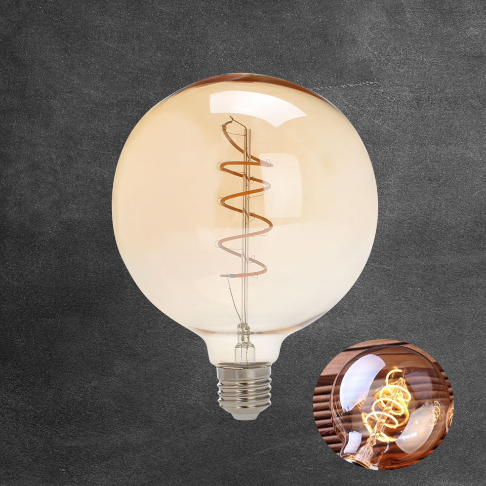 Vintage Edison LED Bulb E27 G125 AC 220-240V Soft LED Filament Lamp 5W Bulb Spiral Design Warm Yellow 2200K Lights Bulbs