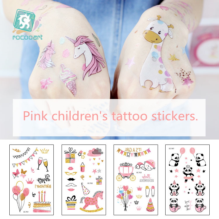 New arrival Temporary Pink Series Tatoo Design for Women and Children with Watermark Tattoo Fake Waterproof Tattoos Sticker