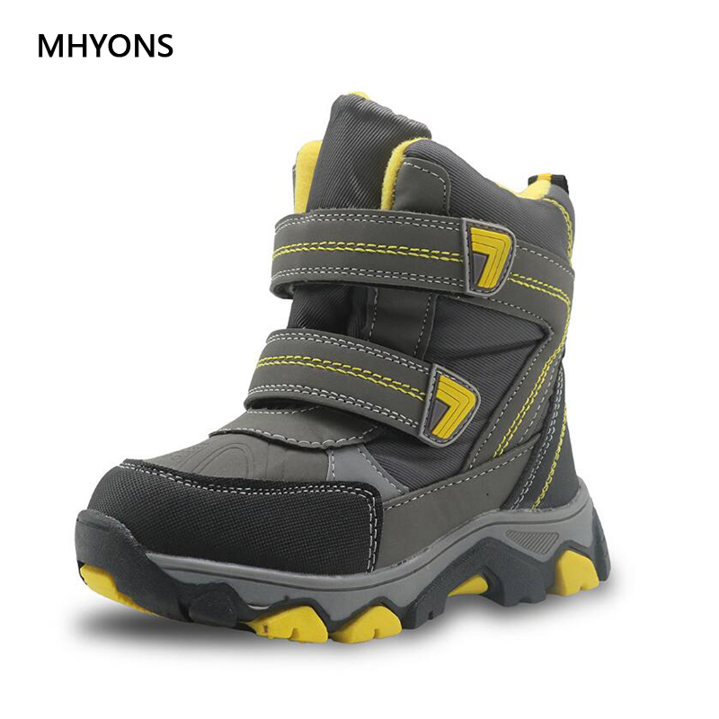 MHYONS 2018 New Girls Boots Boy Flat With Rubber Boots Children Winter Warm Snow Boots Waterproof Anti-skid Children Warm Shoes winter children s boots fashion ankle belt rubber bottom equal anti slip boy girls snow boots warm round head snow boots