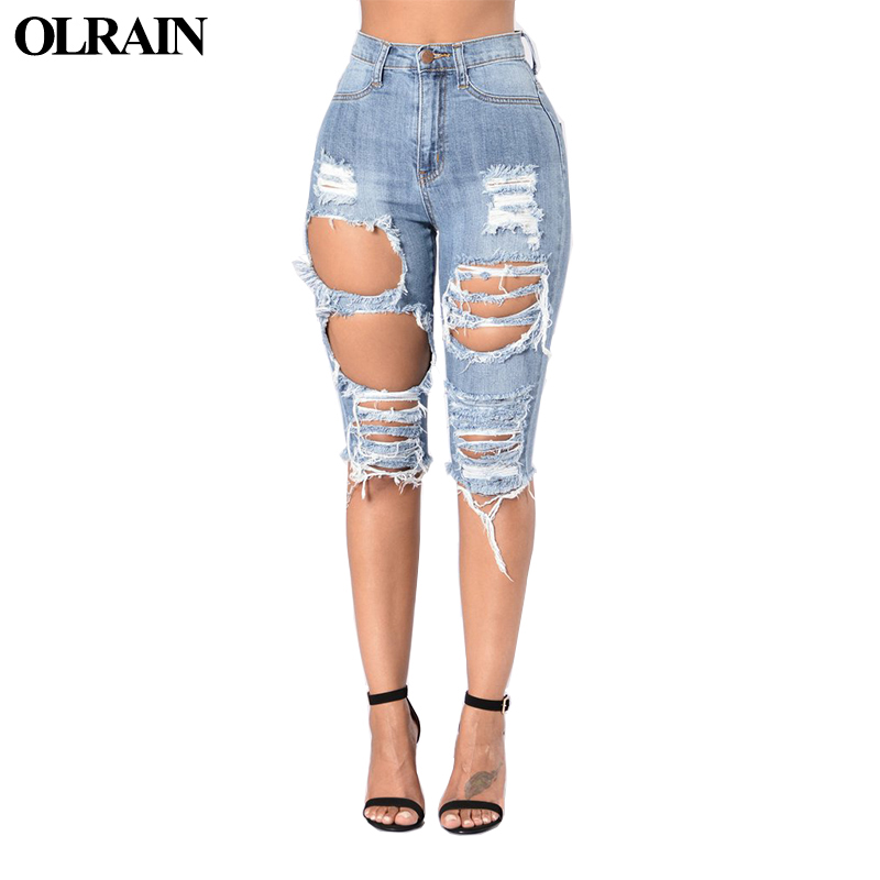 Olrain 2017 Women News Ripped Mid Waist Summer Elastic Knee Length Pencil Pants Hot Sale Beggar