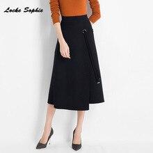 Hight waist Womens A-line knit skirts 2019 Autumn Knitted cotton Splicing Irregular belt Long skirt Ladies Skinny