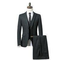 2019 Новый плед зеленый костюм Для мужчин Slim Fit Пром 3 предмета костюм Бизнес Формальные женихов Для мужчин s Свадебные костюмы (куртка + брюки +