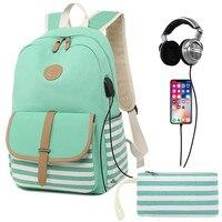Women backpack USB charging laptop backpack for teenage girls school backpack Fashion stripe Female canvas Travel Backpacks