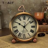 Retro Alarm Clock European Silent Alarm Clocks Bronze Color Roman Watch Creative Desk Table Watches Metal Home Bedroom Decor