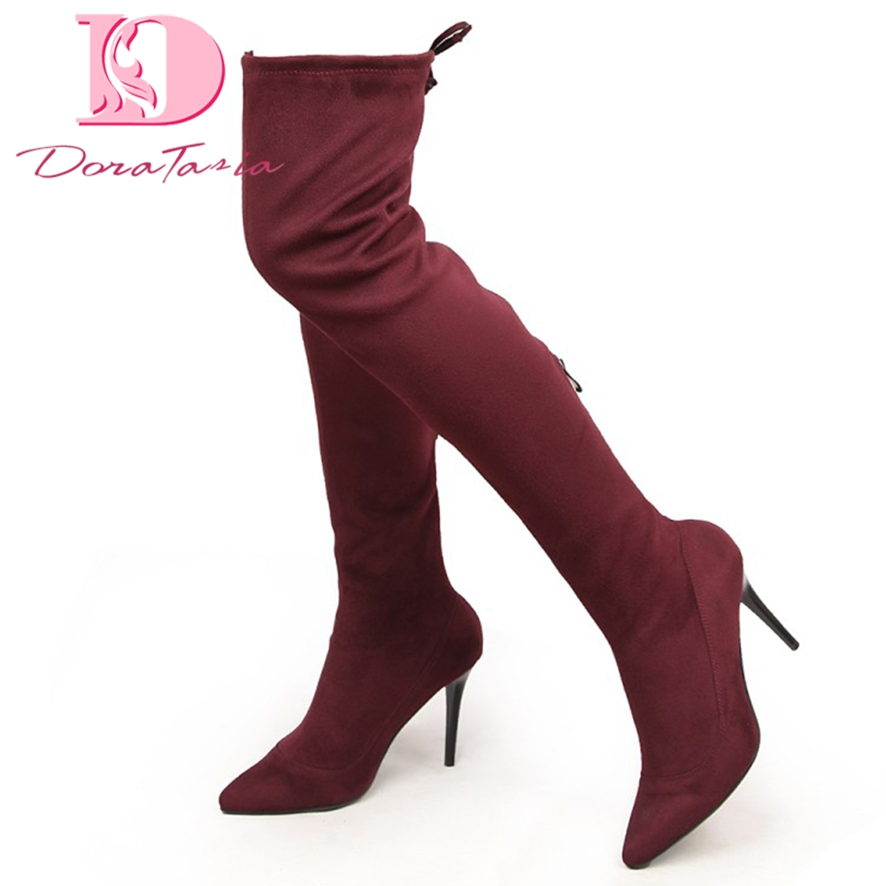Doratasia Brand new Large Size 34-43 Black Thin high Heels Boots Woman Shoes Autumn Winter Over The Knee Boots Shoes Woman doratasia 2018 large size 34 43 chunky heels women boots shoes slip on over the knee high boots leisure fashion shoes woman