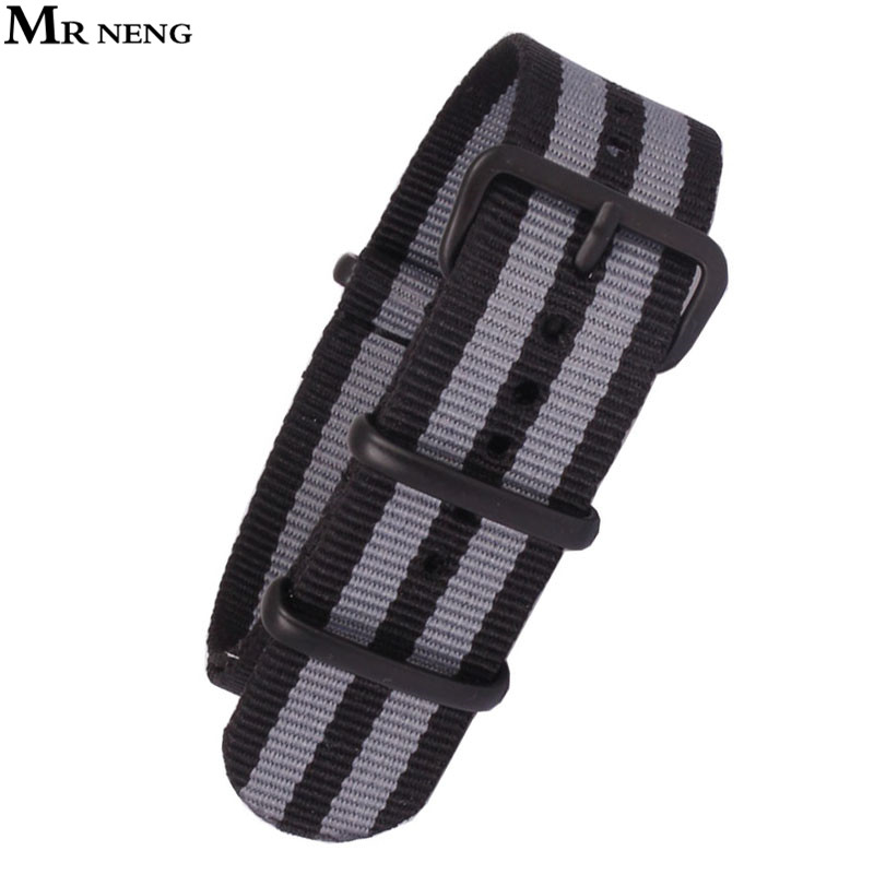 MR NENG Brand Army Sports Nato Fabric Nylon Watchband 18 20 22 24mm Accessories Bands Buckle belt For Man Watch Strap Black Grey