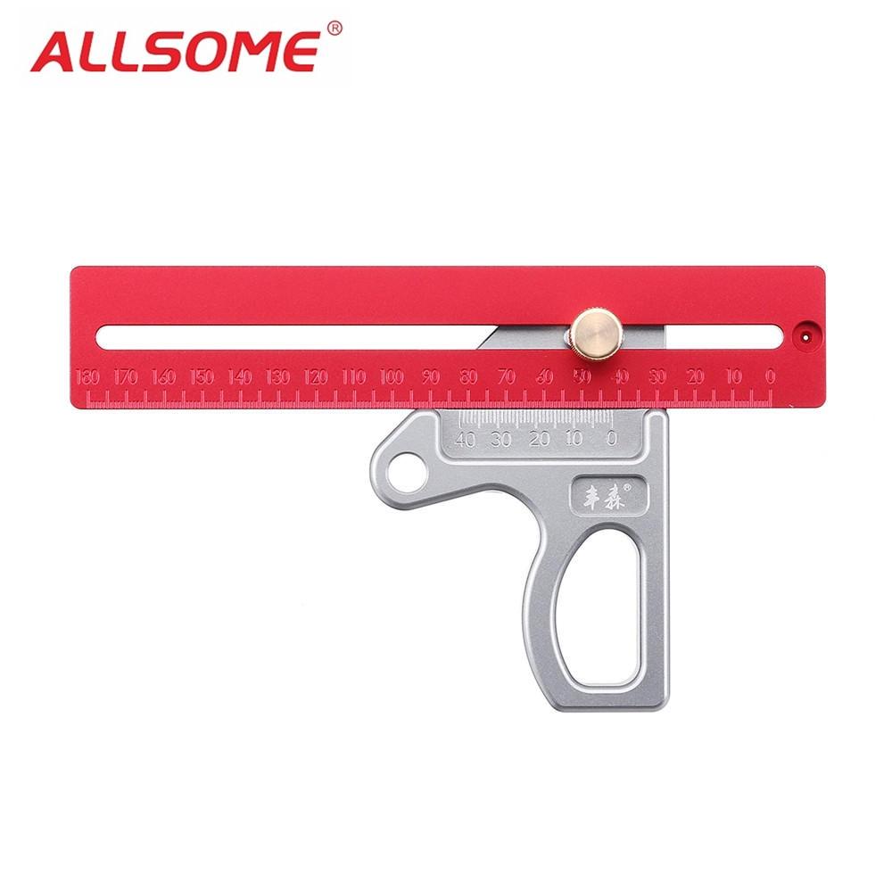 ALLSOME Woodworking Angle Ruler 45 90 Degree Ruler Scribe Gauge Measuring Tool HT2319 2321