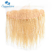 Sapphire Peruvian Kinky Curly Human 13 4 Lace Frontal With Baby Hair 613 Light Blonde Color