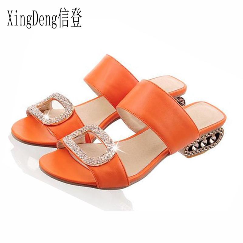 XingDeng Women Sandals Slippers Ladies Square Heels Shoes Big Size 32-43 European Women Slipper Fashion Ladies Summer Rhinestone