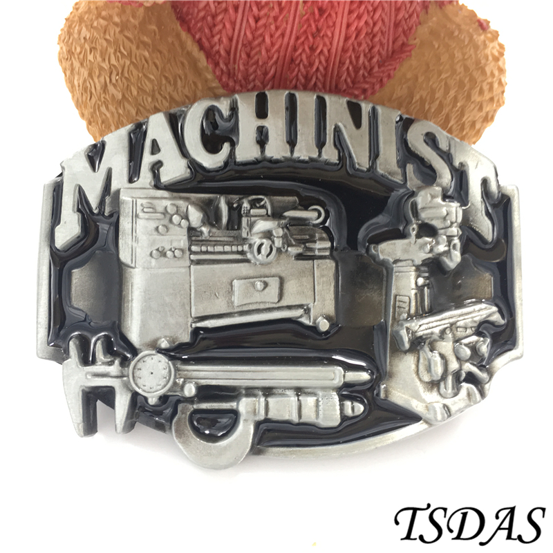Western Belt Buckle Cool Men Machinist Belt Buckle With Silver Finishing, Tools Belt Buckle Suit For 4cm Width Belt