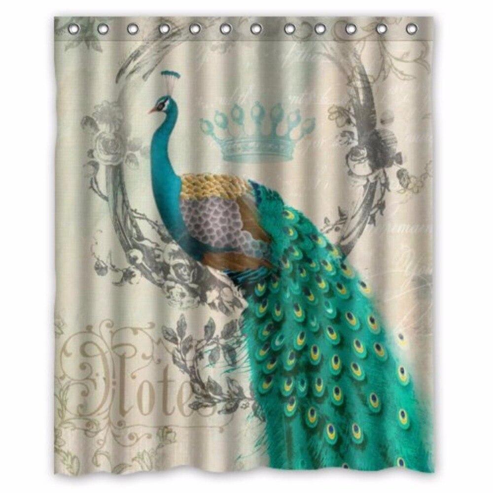 Peacock bathroom decor - Stylish Living Elegant Vintage Peacock A Custom Shower Curtain 100 Polyester Waterproof Bathroom Decor Polyester