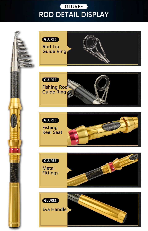 GLUREE 99%Carbon Portable Telescopic Fishing Rod Sea Rod1.82.12.42.73.0M Ocean Rod Spinning Fishing Tackle Golden Handle (17)