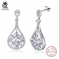 ORSA JEWELS Genuine Sterling Silver 925 Women Earrings Drop Water Drop Female Jewelry For Engagement Wedding