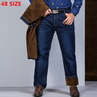 Winter And Autumn Male Cashmere Thickened Casual Jeans Fleece Stretch Waist Size In Elderly Male Loose