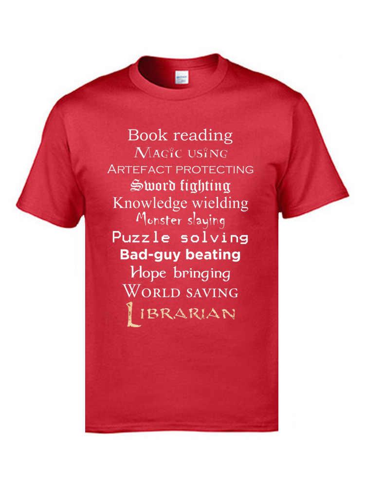 Футболки с надписью «Librarian»; суперскидка; повседневная мужская футболка с круглым вырезом и коротким рукавом из 100% хлопка; футболки для группы компаний