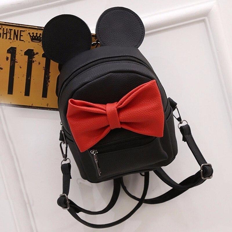 2018 Women Leather School Bag Feminine Mickey Ears Style Small School Backpacks For Teenage Girls Female Kanken Bagpack Sac Bags