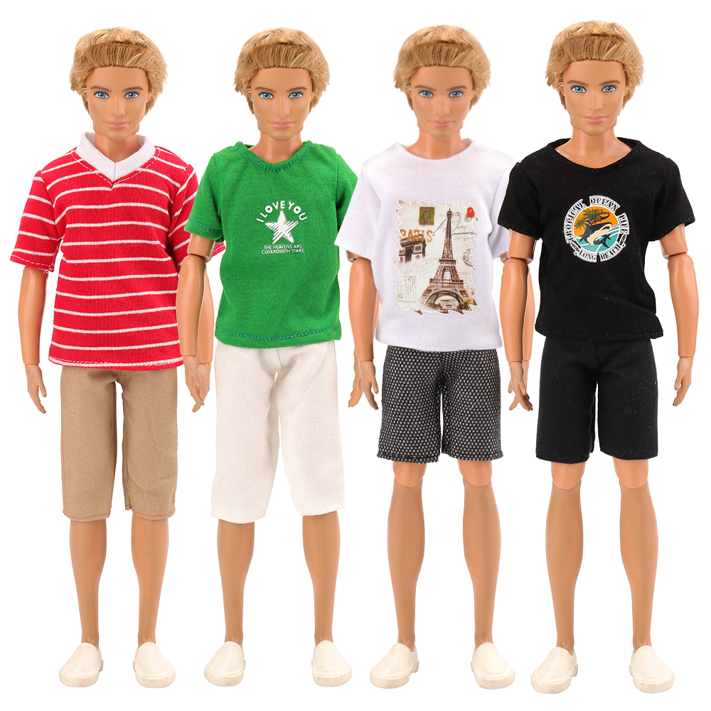New 3 Items /lot Random Pick Doll Casual Wear T-Shirt Trousers Summer Outfit Short Pants Clothes For Barbie Ken Doll Accessories