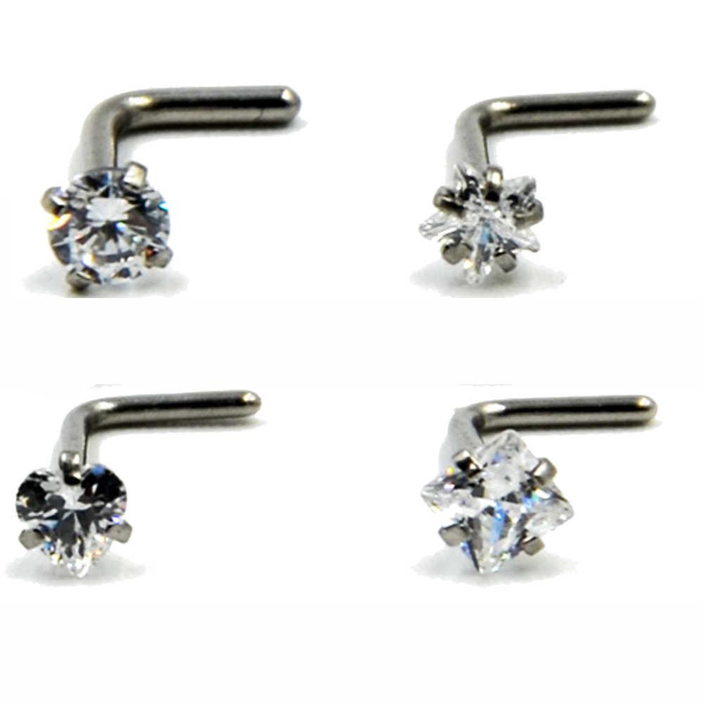 1 sztuk ze stali nierdzewnej klejnot z cyrkonii w kształcie litery L nos Stud Piercing anodowane cyrkon nos pierścień Prong zestaw nos pierścień 20g piercing biżuteria