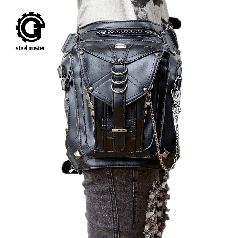 Парна чанта за пънк готическа чанта за кръста за мъже жени кръст тяло пратеник чанта ретро рок чанта рамо 2017 Гореща продажба
