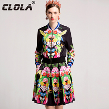 CLOLA New Arrival Women Dress 2017 Autumn Fashion Two Piece Set Black Print Ball Gown Short Dress Casual Jacket Dress