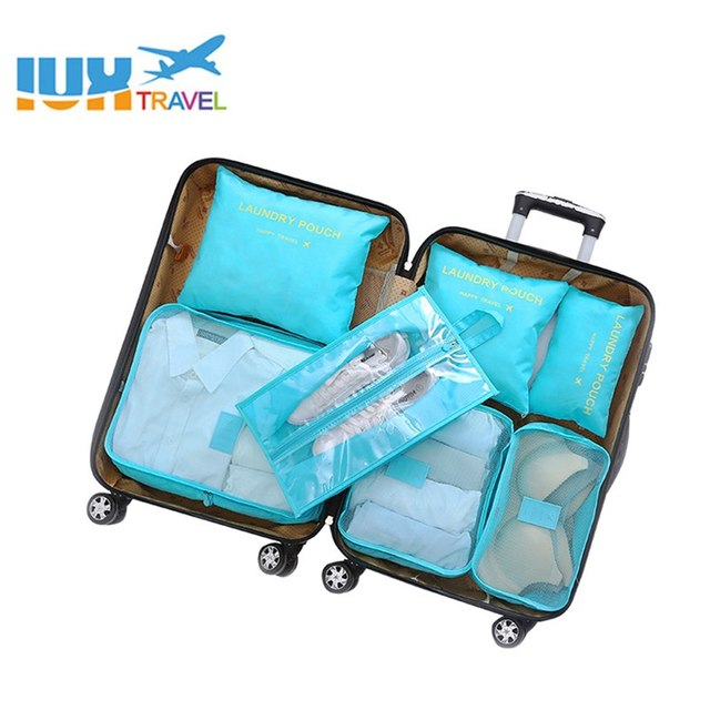 Multifunction 7 Pcs/set Women Travel Bag Clothes Underwear Bra Packing Cube Luggage Organizer Pouch Large Capacity  Handbags 1