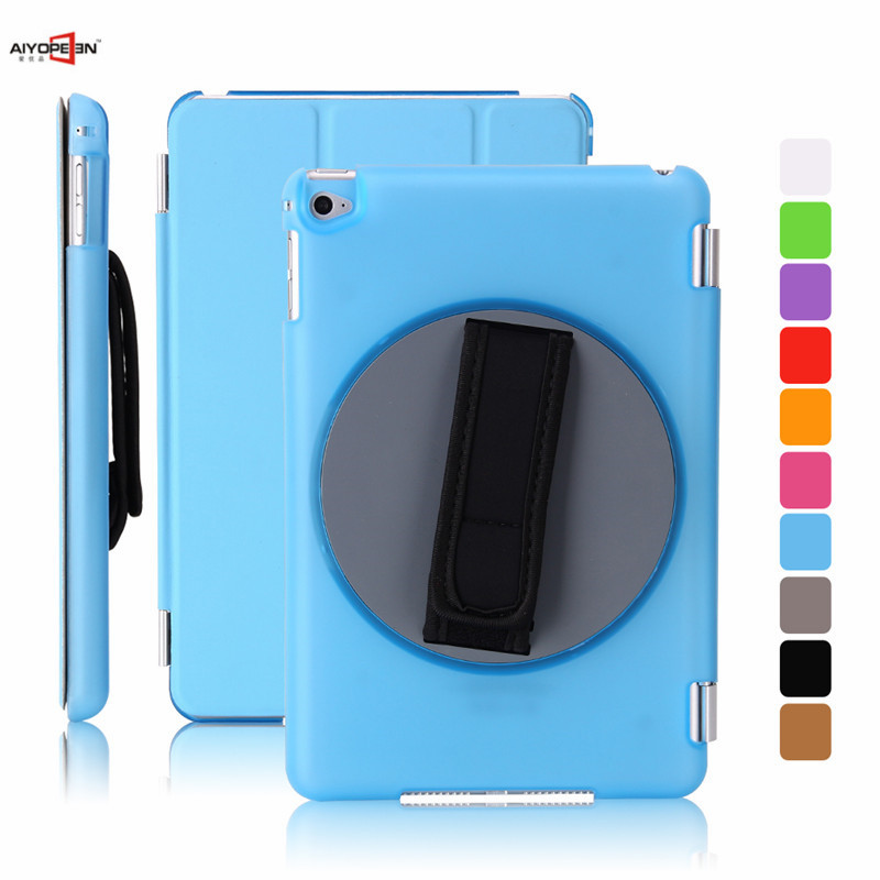 100 pcs/lot smart cover for ipad mini 4 pu leather magnetic wake up sleep with 360 degree handheld rotating bottom case