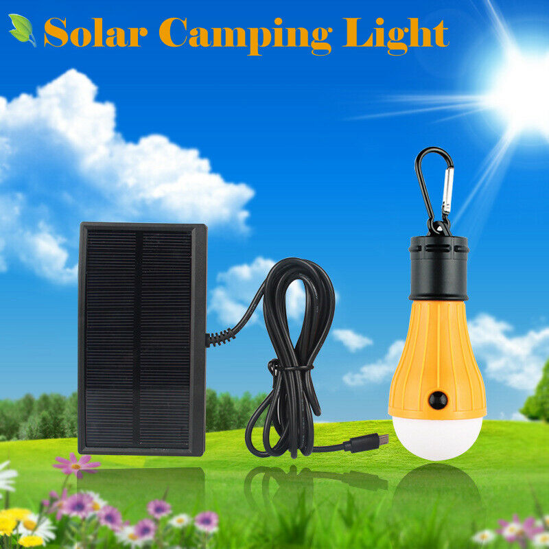 Solar Camping Hanging LED Bulb Light Tent Fishing Lantern Outdoor Energy Lamp