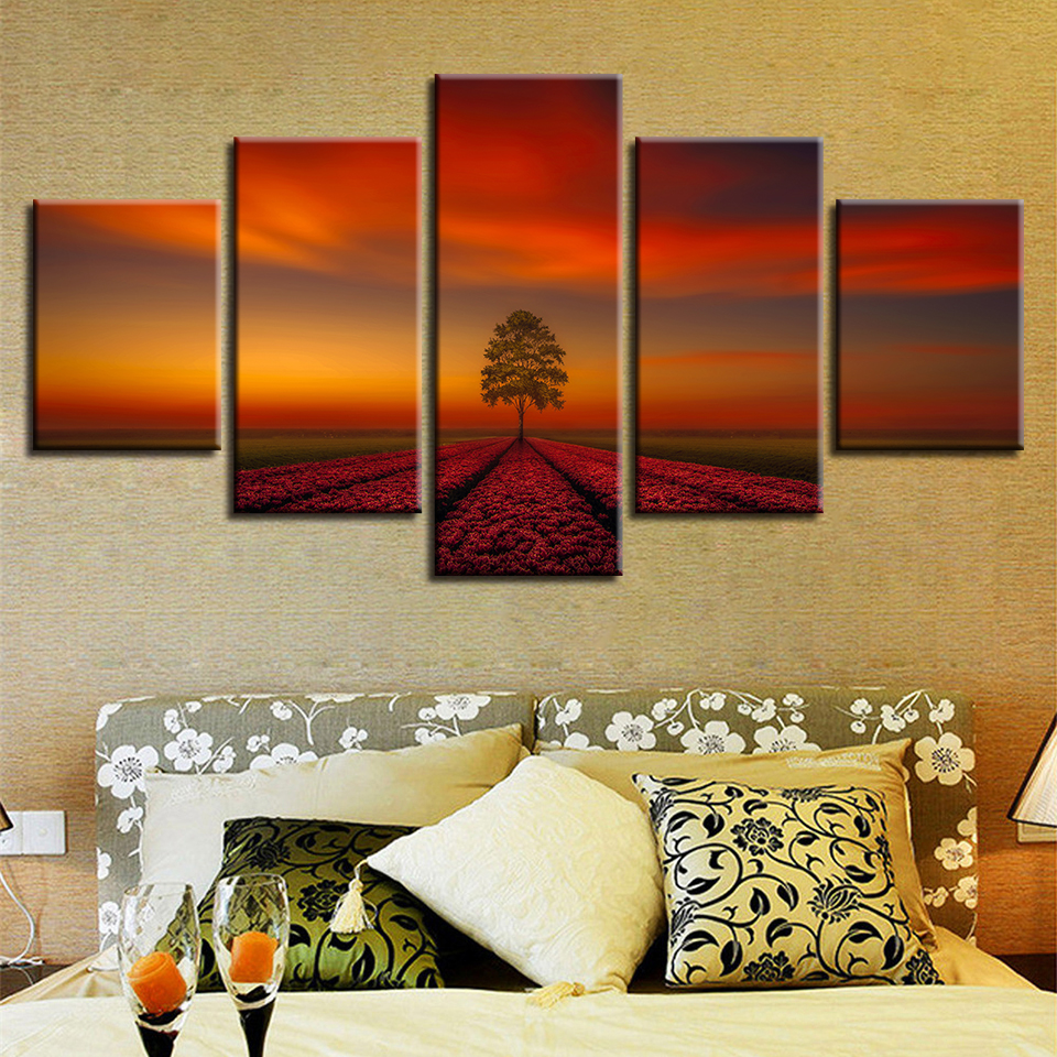 Poster Frame HD Printed Modern Canvas Living Room 5 Panel Dusk Nature Landscape Painting Wall Art Modular Pictures Home Decor in Painting Calligraphy from Home Garden