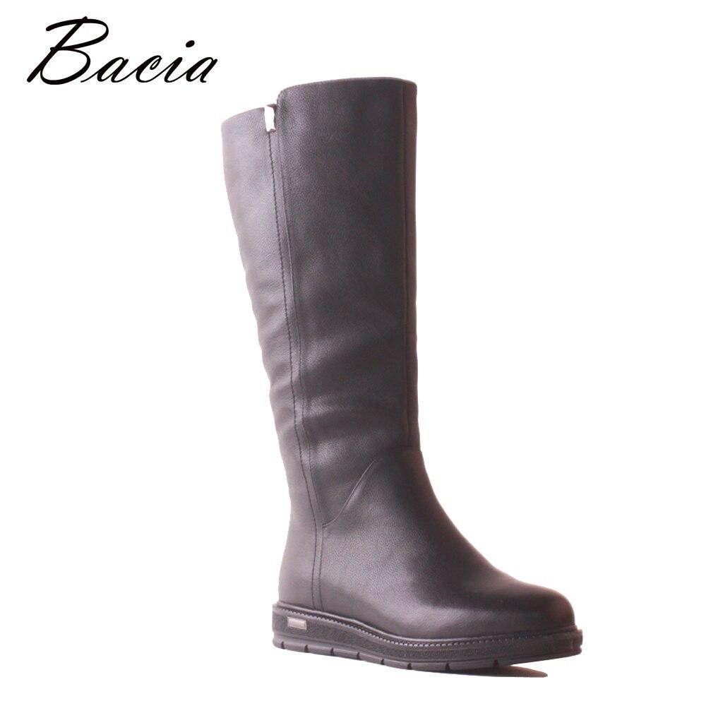Bacia cuero de vaca botas de cuero genuino moda negro mujeres nieve caliente invierno rodilla botas de lana de piel de tacón bajo largo zapatos MB041