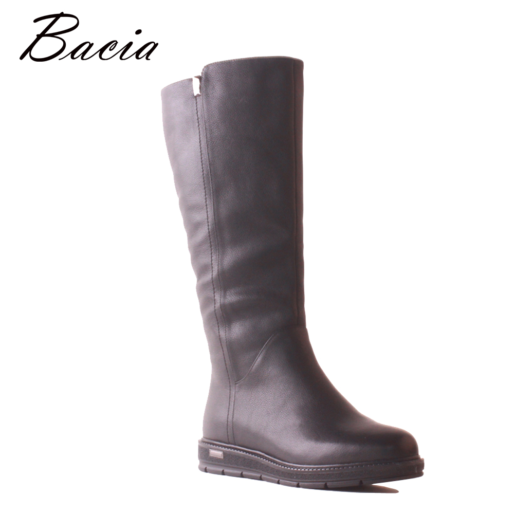 Bacia Genuine Leather Cow Leather Boots Fashion Black Women Warm Winter Snow Knee High Boots Wool Fur Low Heels Long Shoes MB041 bacia winter boots for women full grain leather boots heels 5 8cm wool fur