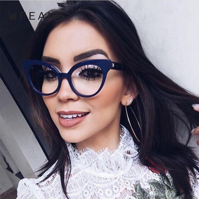 1e3b15b9899 WFEANG Spectacle frame cat eye Glasses frame clear lens Women brand Eyewear  optical frames nerd black