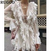 RUGOD Sexy Double Ruffle women Dress Elegant Deep V neck lace up Perspective chiffon mini dress Flare sleeve White boho dresses