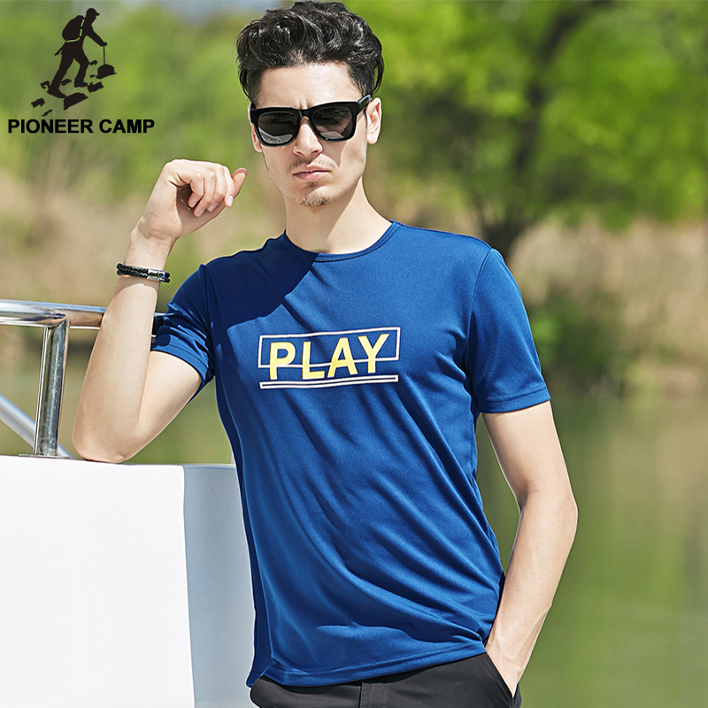 Pioneer camp summer casual printed blue quick dry t shirt for Big and tall quick dry shirts