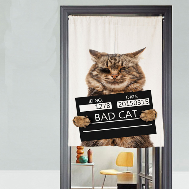 Funny Bad Cat Short Kitchen Curtains Printed Cartoon Polyester Children White Rectangle Door Studying