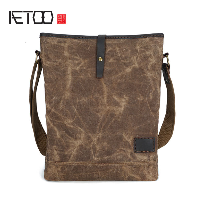 AETOO Section men and women shoulder bag oil wax canvas with crazy horse leather Messenger bag vertical retro male bag aetoo europe and the united states fashion shoulder bag oil wax canvas with crazy horse bag waterproof messenger bag men and wom