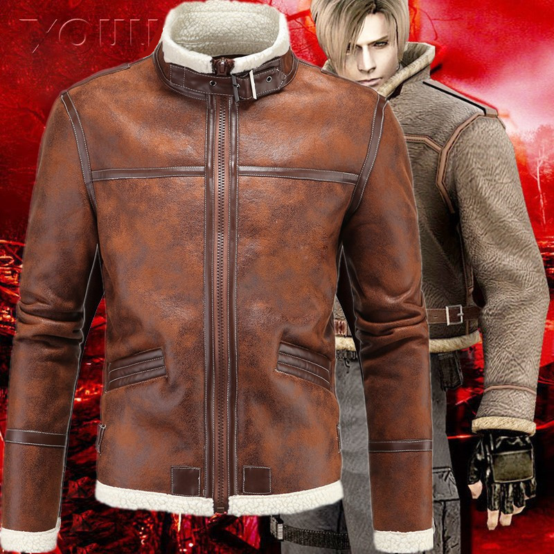 Faux Fur Collar Faux Leather Jacket Cosplay Men Winter Brown Suede Jacket Fleece Warm Bomber Coats Male Outwear Pocket 5XL
