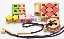 String of games, children's intelligence thread sewing toys, a string of beads series, Learning and education of baby toy