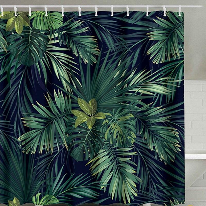 ม่านอาบน้ำสีเขียวใบรูปแบบการพิมพ์โมเดิร์นธรรมชาติพืชรูปแบบโพลีเอสเตอร์ผ้าม่านห้องน้ำ ...